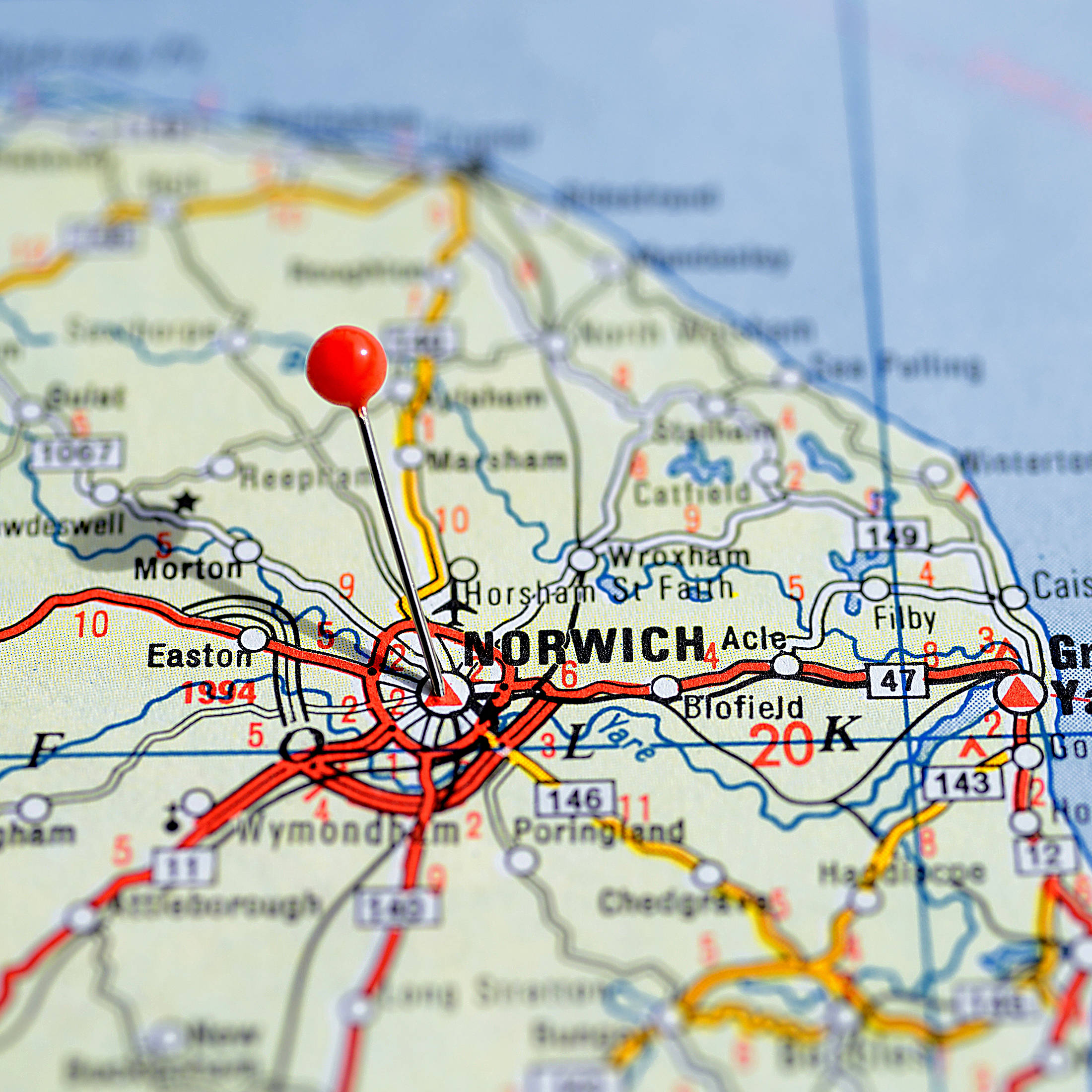 Commercial electricians based in Norwich. A map of Norfolk highlighting service areas